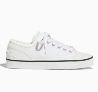 Chanel White Canvas Leather Trim Low-Top Sneakers