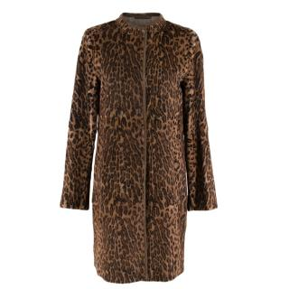 Max Mara Rabbit Fur Animal Print Coat