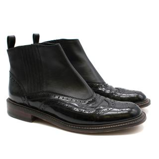 Robert Clergerie Black Patent Boots with Brogue Trim