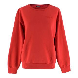 Balenciaga Red Embroidered Logo Sweatshirt