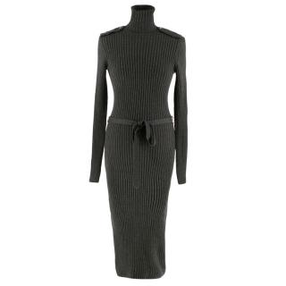 Wolford Grey Wool Blend Knitted Dress with Waist Belt