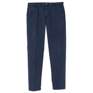Kiton Blue Cotton Blend Trousers