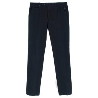 Corneliani Navy Corduroy Straight Leg Trousers