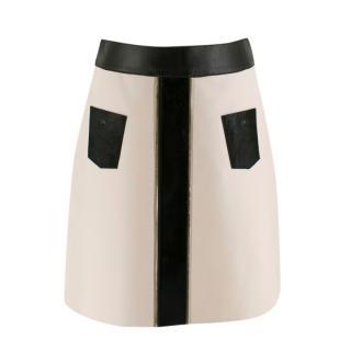 Longchamp Two-Tone Leather Mini Skirt