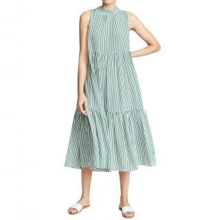 Asceno Striped neck-tie tiered silk midi dress
