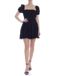 Self Portrait Black curled mini dress with micro sequins