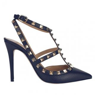 Valentino Navy Grained Leather 100mm Rockstud Sandals