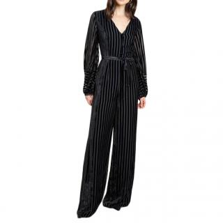 Beulah Aaloka striped devore-velvet jumpsuit