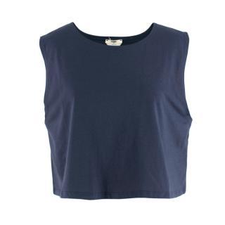 Fendi Navy Cotton Sleeveless Crop Top
