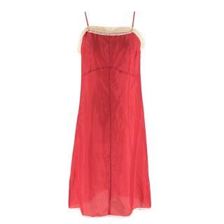MIU MIU Silk Blend Pink Slip Dress with Lace Trim