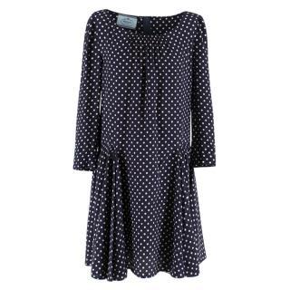 Prada Polka Dot Navy Silk Swing Dress
