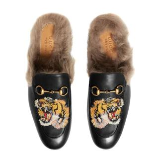 Gucci Tiger Embroidered Fur Lined Princetown Slippers