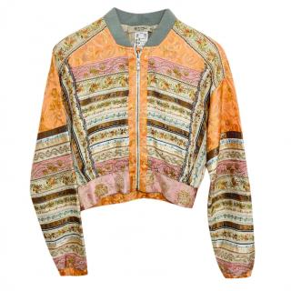 Euro past embroidered silk blend bomber jacket