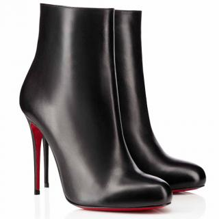 Christian Louboutin Black Leather Fifi 100 Booty Ankle Boots