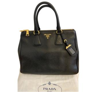 Prada black leather double zip tote bag