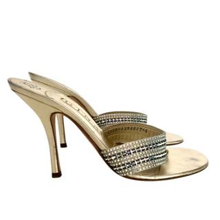 Gina metallic gold leather and crystal mule sandals