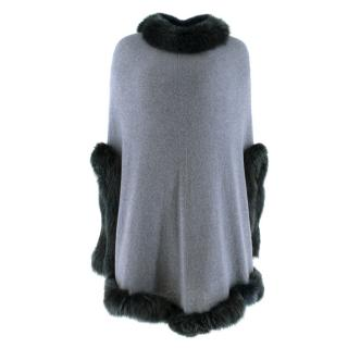 Pinotti Cashmere Fur Trimmed Blue Knit Poncho