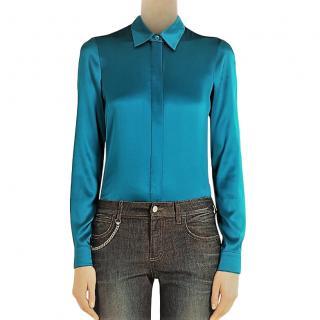 Gucci turquoise stretch silk satin shirt