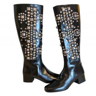 Saint Laurent runway heavily embellished black boots