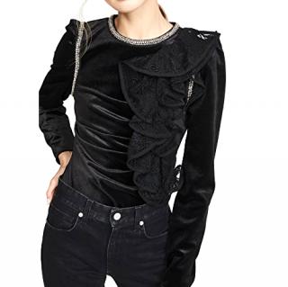 Self Portrait Black Velvet Ruffle Top
