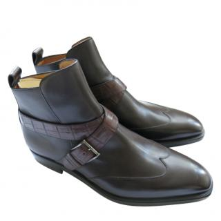 A.Testoni dark brown leather and crocodile jodhpur boots