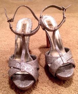 Badgley Mischka Silver Glitter Platform Sandals