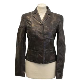 Christian Lacroix Bazaar leather brown jacket