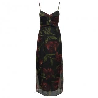 New limited edition Dolce & Gabanna large rose print bustier dress