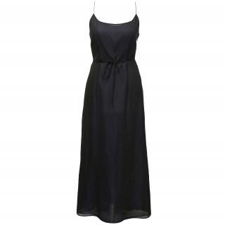 New Alberta Ferretti silk navy maxi dress