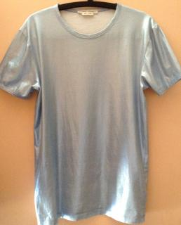 Marc Jacobs Mettalic Blue Cotton T-Shirt Made in Italy