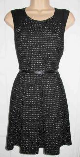 MARKUS LUPFER TWEED CHIFFON PLEATED BLACK DRESS M UK10 EU38 US6