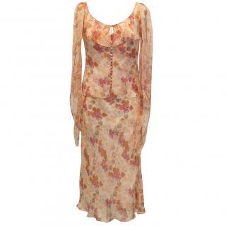 John Galliano two piece silk dress