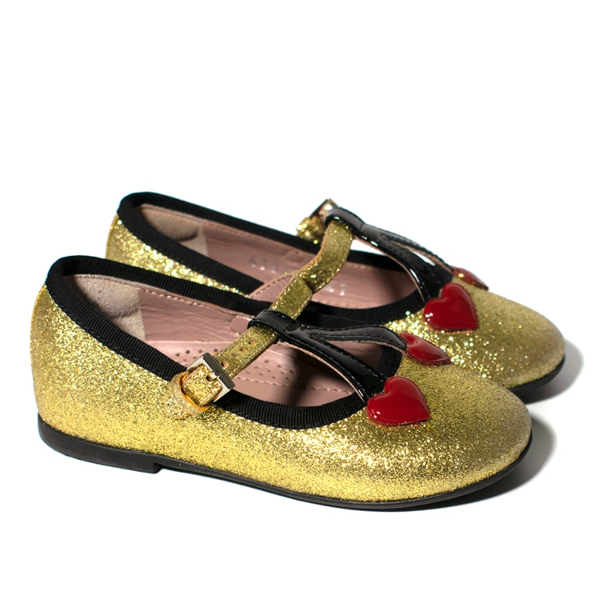 Gucci Childrens Gold Glitter Pumps with Cherry Heart Detail