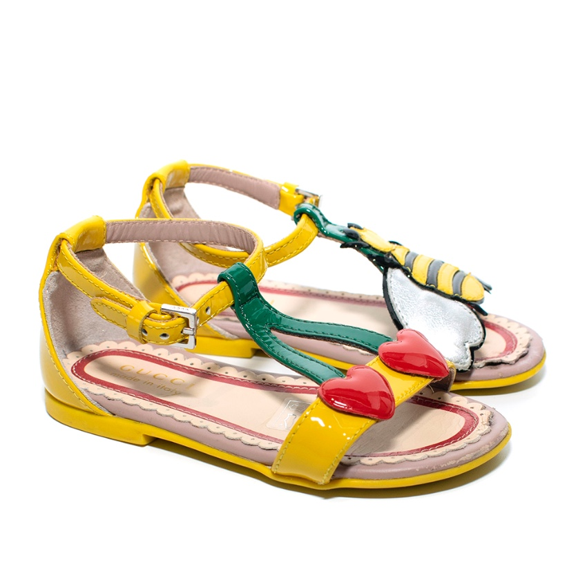 Gucci Children's Yellow Patent Leather Heart & Bee Sandals