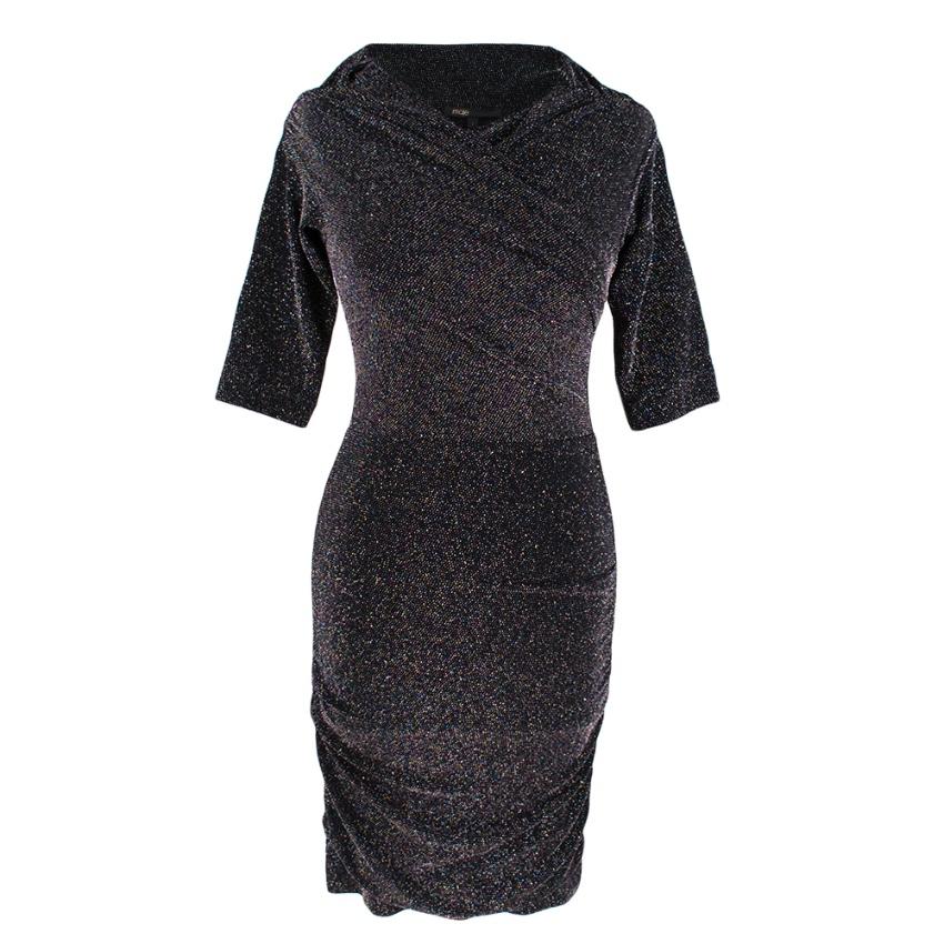 Maje Black Wrap Style Black Glittery Dress