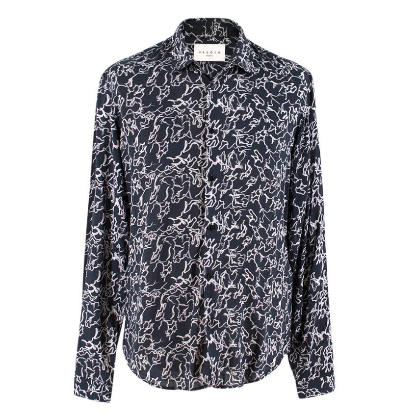 Sandro Black Printed Button-down Shirt