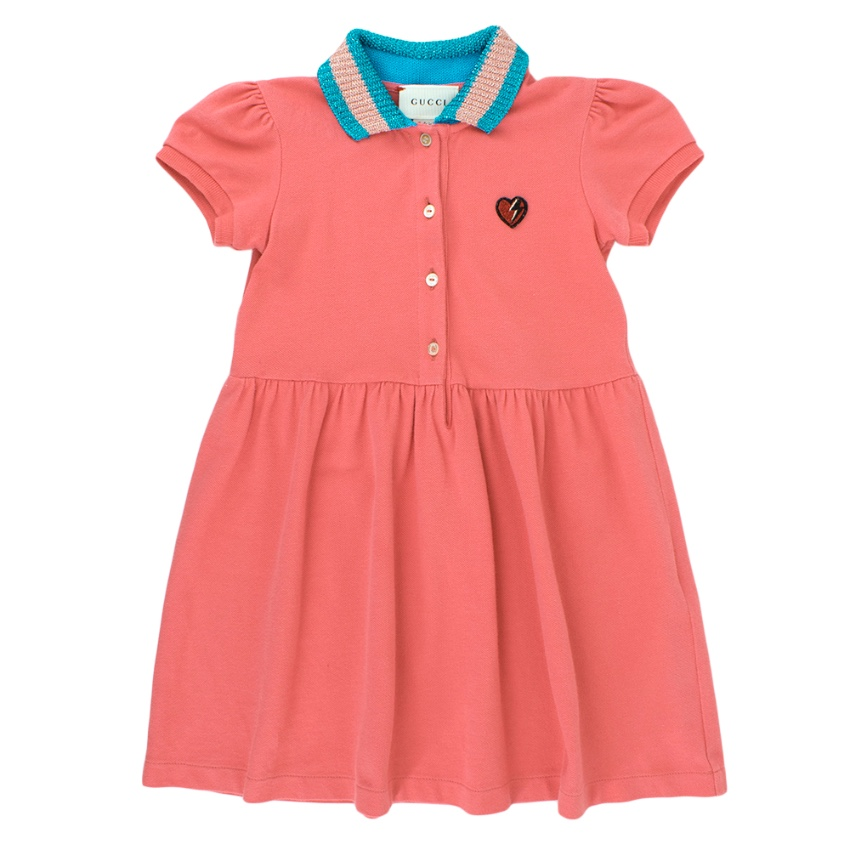 Gucci Pink Cotton Polo Dress with Metallic Collar