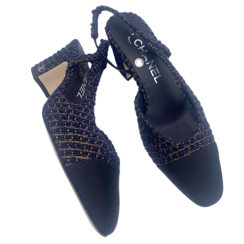 Chanel Navy & Gold Tweed & Grosgrain Slingback Sandals