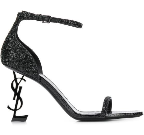 Saint Laurent Black Opyum 85 Glitter Sandals
