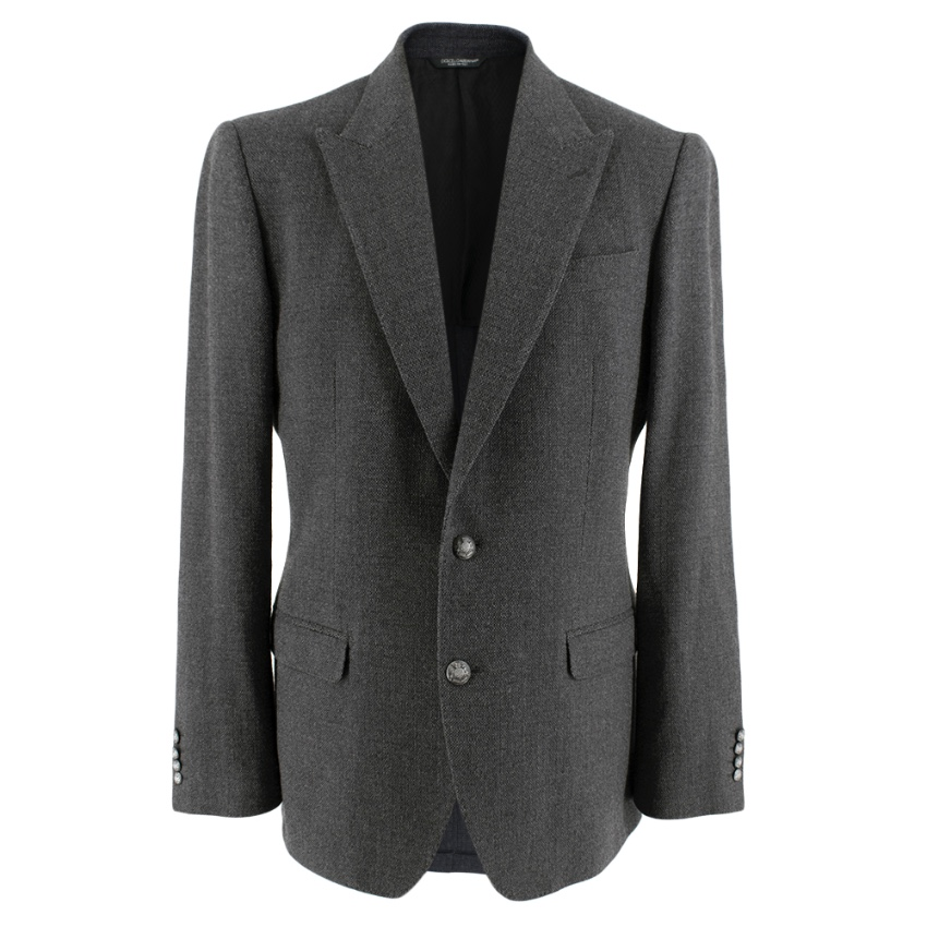 Dolce & Gabbana Grey Wool Sicilia Single Breasted Blazer