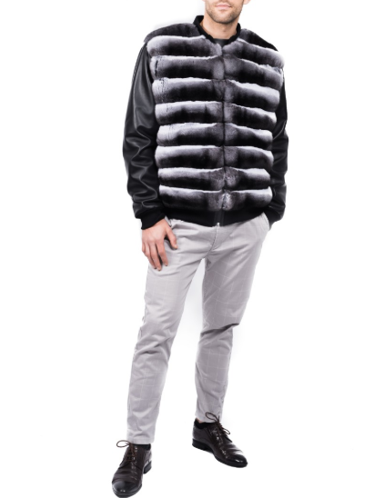 FurbySD Chinchilla Fur Trim Bomber Jacket