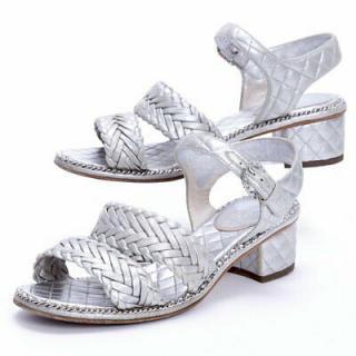 Chanel Silver Woven Goatskin Sandals