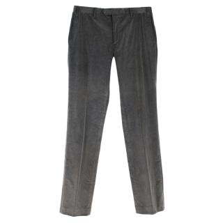 Corneliani Cotton Blend Grey Cord Trousers