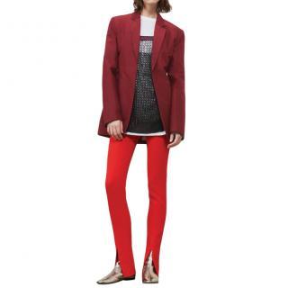 Victoria Beckham Silk Taffeta Masculine Jacket in Burgundy