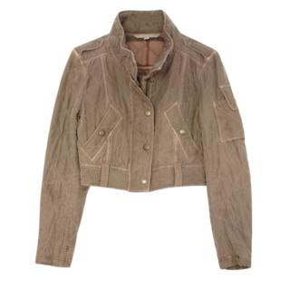 Burberry Brit Khaki Silk Cropped Jacket