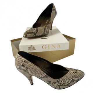 Gina Natural Python Leather Pumps