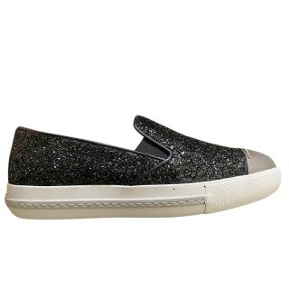 Miu Miu Black Glitter Slip-On Sneakers