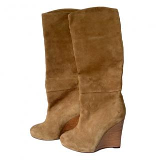 Camilla Tan Suede Wedge Tall Boots