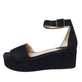 Paul Andrew Black suede platform sandals