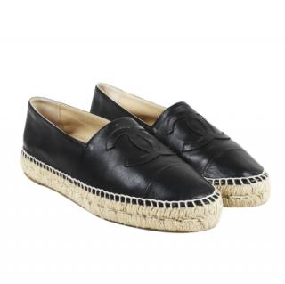 Chanel Black Lambskin CC Espadrilles